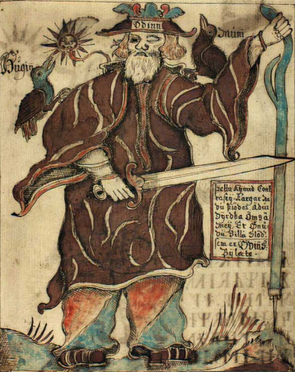 Image of god Óðinn in Old Norse Manuscript NKS 1867 4to 94r, Iceland, 1760