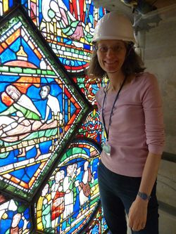 Prof. Rachel Koopmans on scaffolding at Canterbury Cathedral