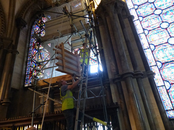 Glass removal from Canterbury Cathedral windows